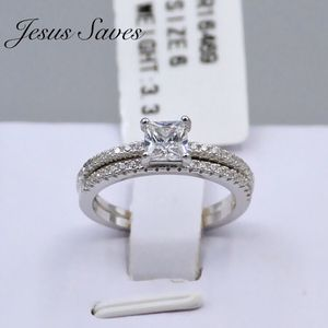 S925 SRC-16987 Princess Cut Wedding Ring Set Size 9 only for Sale in Fresno, CA