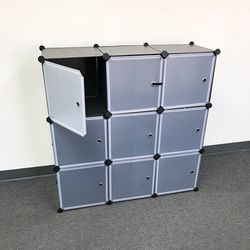 $40 New In Box Portable Wardrobe Closet 9 Cubes Plastic Storage With Doors Bedroom Clothing Organizer for Sale in Santa Fe Springs,  CA
