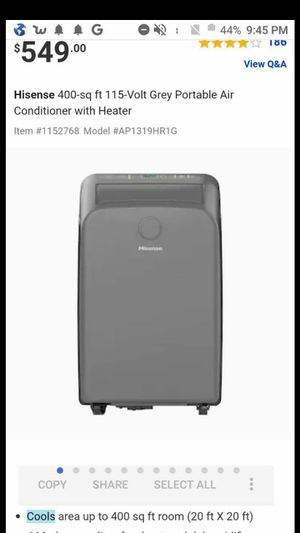 Crazy Deal!!Hisense Grey portable air conditioner for Sale in Kent, WA