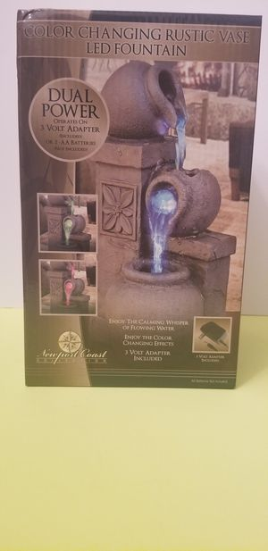 Newport Coast Color Changing LED Indoor Rustic Vase Tabletop Waterfall Fountain for Sale in Milton, PA