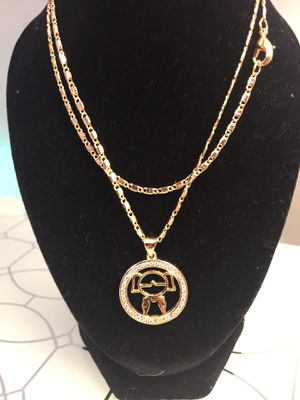 18k GPL Baby Girl Medallion Pendant With Chain for Sale in Nashville, TN