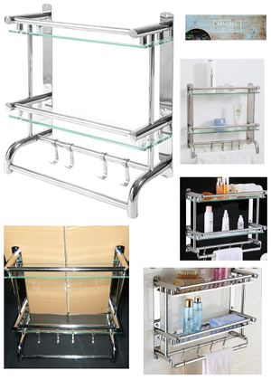 Stainless Steel Bathroom Shelf Storage Rack/ Organizer- Wall Mounted 2-Tier Glass Shelves, Towel Bars w/Hooks for Sale in Burbank, CA