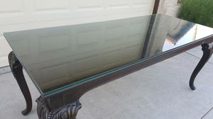 TABLE - Carved Wood- Removable Glass Top Beautiful for Sale in Henderson, NV