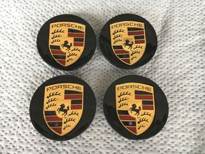 Black Porsche caps wheel rim center Cap 76mm 3 inch diameter BRAND NEW SET OF 4 CAYENNE CAYMAN PANAMERA BOXSTER 911 718 917 993 964 996 997 987 986 for Sale in HUNTINGTN BCH, CA