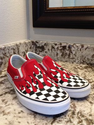Red Checkered Flaming Vans for Sale in St. Petersburg, FL