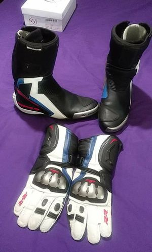 Size 11.5 BMW Motorcycle Boots and size 10 motorcycle gloves. for Sale in Dallas, TX