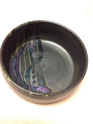 Hand made Ceramic Black Bowl with Color Splashes Signed Nicole Pristine Condition for Sale in Poulsbo, WA