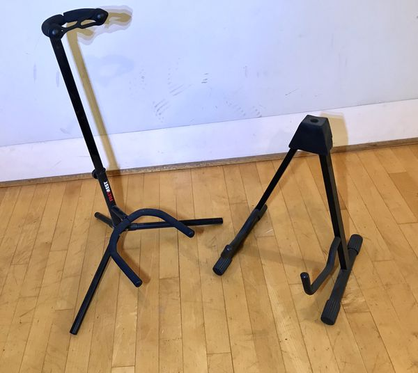 2 guitar stands fretrest by proline & musicians gear both in good working order $35 in Ontario 91762 or trade for drum throne or cymbal or snare or N