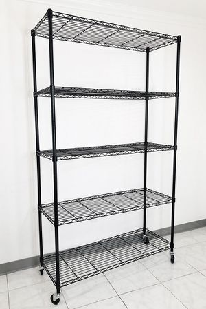 "New $90 Metal 5-Shelf Shelving Storage Unit Wire Organizer Rack Adjustable w/ Wheel Casters 48x18x82"" for Sale in Pico Rivera, CA"