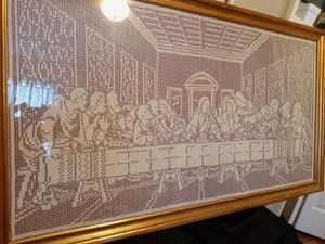 Framed Hand crocheted last supper for Sale in Plant City, FL