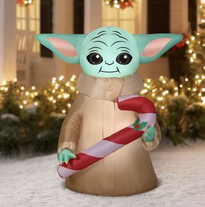 Brand new baby yoda madalorian candy cane Christmas Inflatable decoration for Sale in Houston, TX