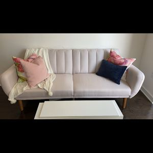Sofa Futon - Premium Upholstery & Wooden Legs - Pink. $130 OBO for Sale in San Jose, CA