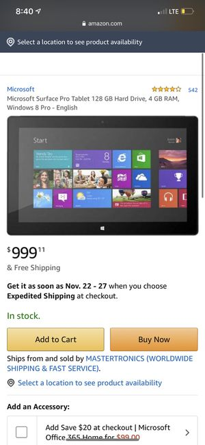 Microsoft surface windows 8 pro for Sale in Norwalk, CA