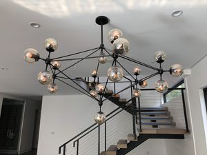 "Glass chandelier fixture lighting new in box 21 glass balls adjustable height 60"" diameter contemporary for Sale in Los Angeles, CA"