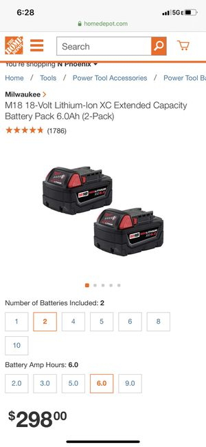 Milwaukee 6.0 batteries brand new in packaging for Sale in Phoenix, AZ
