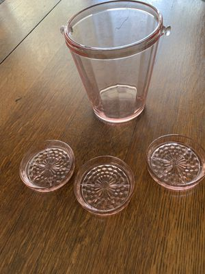 Pink Depression glass - ice bucket and coasters for Sale in Alva, FL