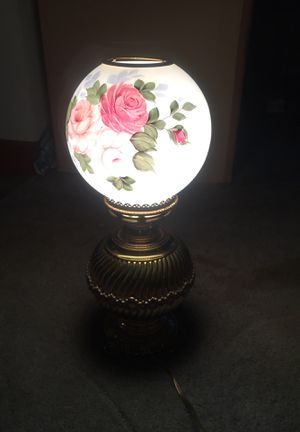 Hand painted antique converted hurricane lamp for Sale in SUGARCRK Township, OH