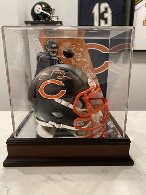 Mitchell Trubisky Signed Chicago Bears Matte Black Speed Mini Helmet (Fanatics Hologram) in custom glass case for Sale in Normal, IL
