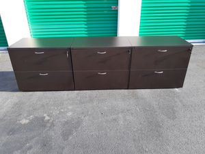 2 excellent espresso matching 2 drawer lateral file cabinets! Drawer for Sale in Anaheim, CA