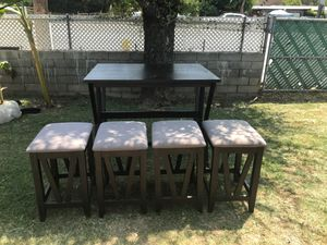 Folding kitchen table with 4 stools , I purchased table and 2 stools for over 200.00 and bought another 2 stools for for 100.00 for a total of over 3 for Sale in Azusa, CA