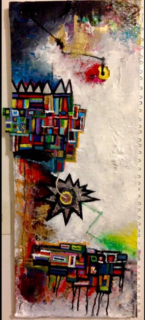 4FT X 2FT Wall Street POP Art Canvas Painting Graffiti Urban Abstract Acrylic Collage Wood Frame Cotton Panel Paint for Sale in North Palm Beach, FL