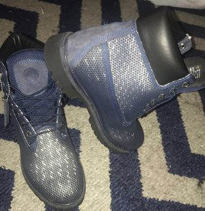 blue webbed timberland waterproof men boots 8.5 for Sale in Fort Washington, MD