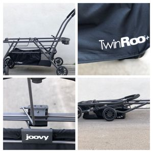 Joovy Twin Roo double stroller frame + 2 Peg Perego infant car seats for Sale in Los Angeles, CA