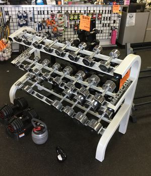 Chrome Dumbbell Set 3-50 Lbs with full commercial maxicam 3 tier rack for Sale in Phoenix, AZ