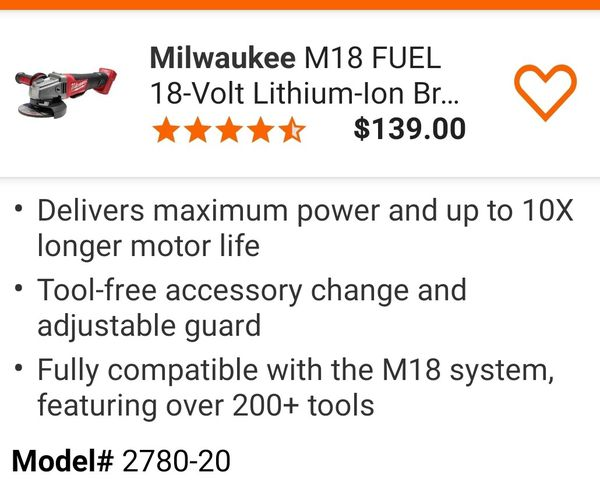 3 NEW MILWAUKEE M18 IMPACT WRENCH / GRINDER (TOOLS ONLY) AND COMBO SET BATT/CHARGER/ BAG @ $450.