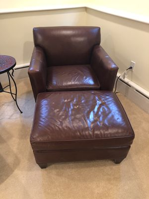 Crate and Barrel leather chair/ottoman for Sale in Washington, DC