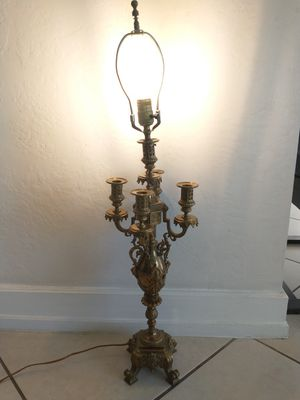 """Antique french bronze brass candelabra lamp lion figural 35"""" tall table lamp for Sale in North Miami Beach, FL"""