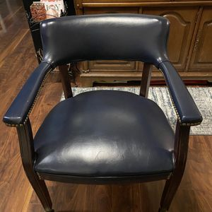 Chair & Ottoman Set Leather Dark Blue for Sale in Fort Worth, TX