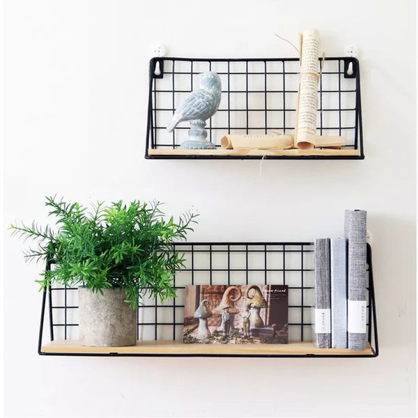Wooden Iron Wall Shelves