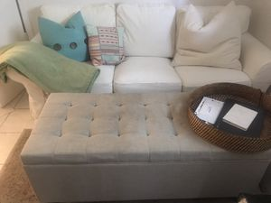"White couch, ottoman, white bookcase, beach wood console, black bookcase, brown sectional, 50"" TV, 19"" TV, brand new iPods, IPad Air, and much more!! for Sale in Medford, MA"