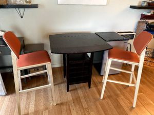 Wood dining table with wine rack below & 2 stools for Sale in Pacifica, CA