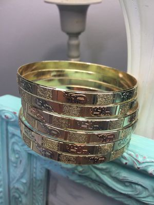 6 Pcs Tricolor Bangle Bracelet Set With Elephants for Sale in Nashville, TN