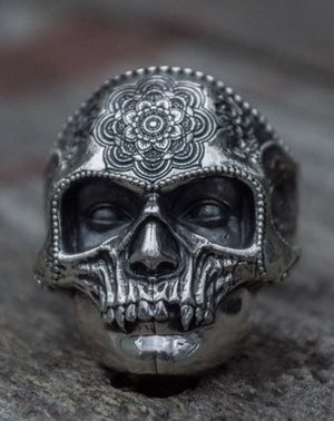 Unique Solid Stainless Steel Heavy Sugar Skull Ring Mens Mandala Flower Santa Muerte size 13 for Sale in Los Angeles, CA