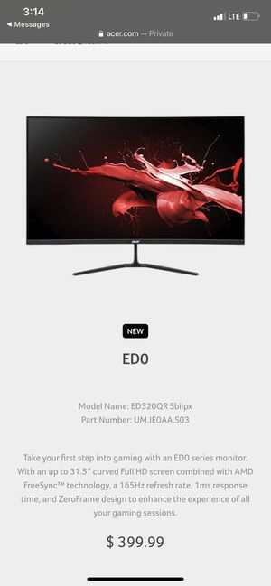 "NEW!! Acer 32"" 165hz 1ms gaming monitor for Sale in Oceanside, CA"