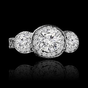 2 Ct Round (center 1.5 Ct) Three Stones Milgree Vintage Style Simulated Diamond Engagement Ring & Simulated Diamond Wedding Sterling Silver Ring for Sale in San Francisco, CA