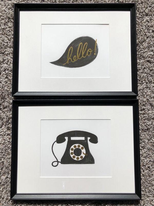 Framed black & white Art Sketch Telephone Hello Set of 2