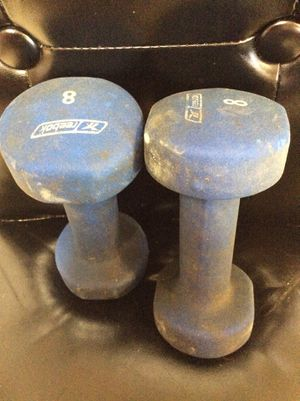 Dumbbells, set of 8 pound, USED, these are stained, meet at exxon at 2426 E Lamar Alexander parkway Maryville for Sale in Maryville, TN