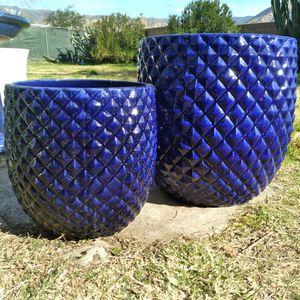 "New Planting Pots ""Colbolt Blue 20""&15"" Pinequilt Ceramic Planters"" 2 Pc Set Available $90😷 for Sale in San Bernardino, CA"
