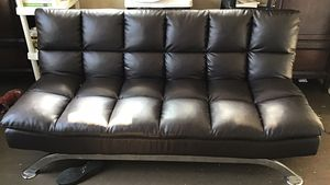 Dark Brown Leather Futon for Sale in Dayton, OH
