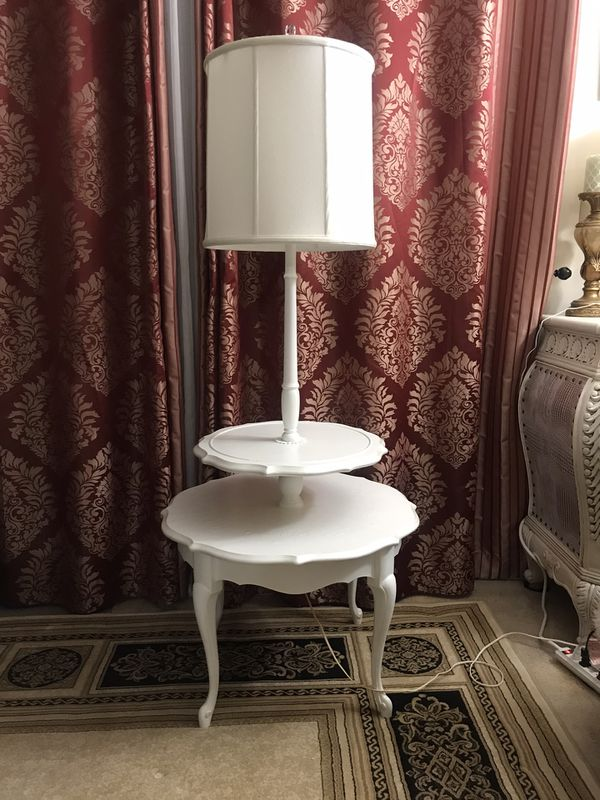 Unique white table-lamp with smart led bulbs