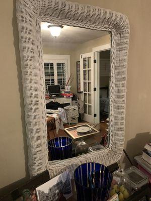 Wicker desk, drawers and mirror for Sale in El Segundo, CA