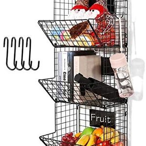 3 Tier Hanging Wire Basket - Wall Mounted Storage Bins for Pantry with Removable Chalkboards, Kitchen Fruit and Vegetable Storage Baskets, Metal Shelv for Sale in Rosemead, CA