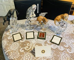 Franklin Mint Wildlife Federation Big Cats Porcelain Statues Lead Crystal Base for Sale in Lafayette, OR