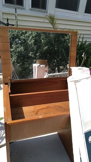 Wooden antique dresser that opens upward with mirror and storage inside. Also blinds new in the box for Sale in Cambridge, MA