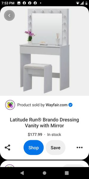 Brand new vanity with lights and stool for Sale in Bakersfield, CA