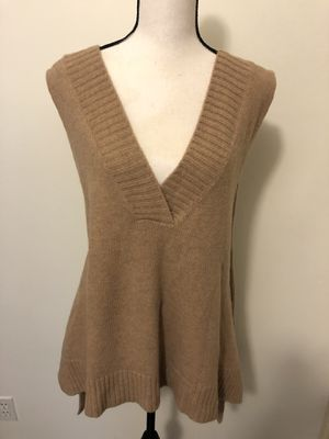 Free People Tan Drop Cardigan Sweater Vest Size XL Top Shirt Jacket Short Sleeve for Sale in Monrovia, CA